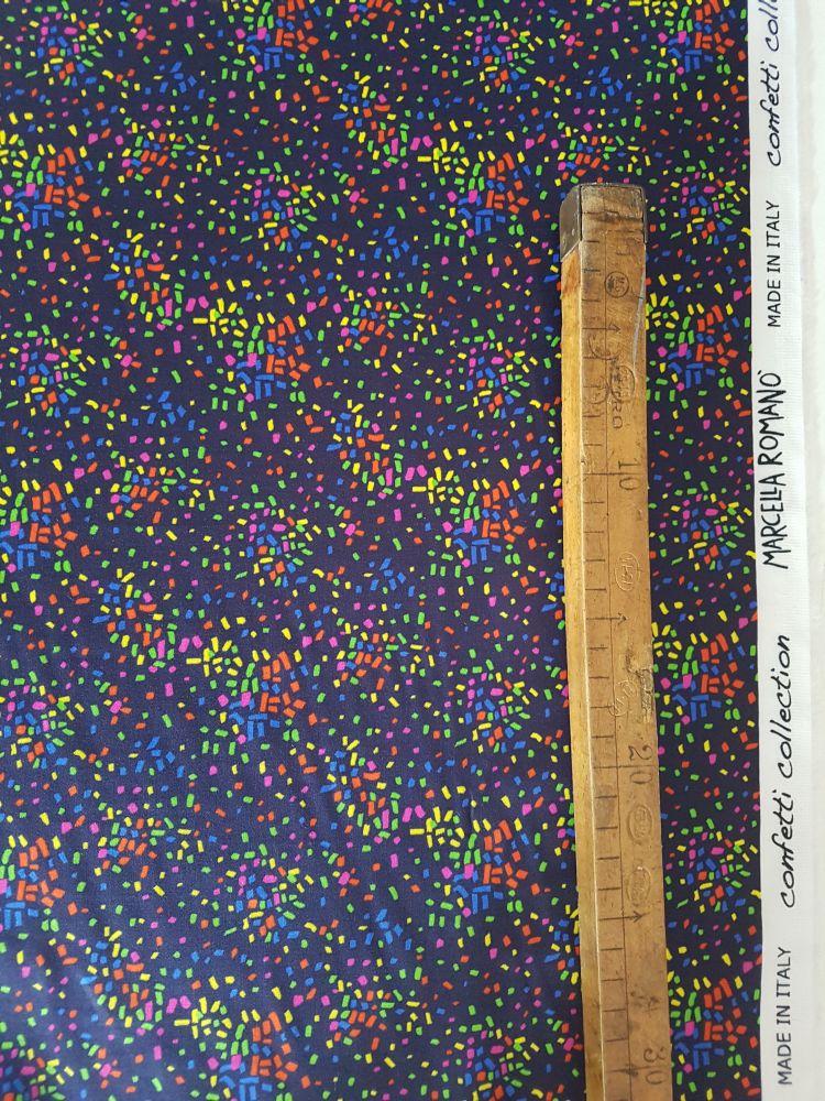 Stampa Confetti su tessuto raso di cotone made In Italy vendita al metro
