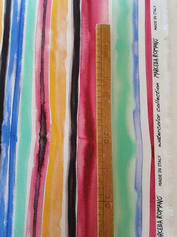 tessuto watercolor riga multicolor sangallo cotone stampato made in italy - Vendita al metro - Marcella Romanò
