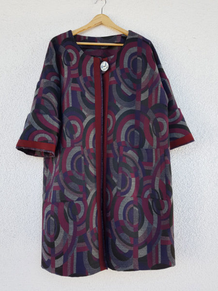 cappotto jacquard made in Italy motivo cerchi acquisto on line