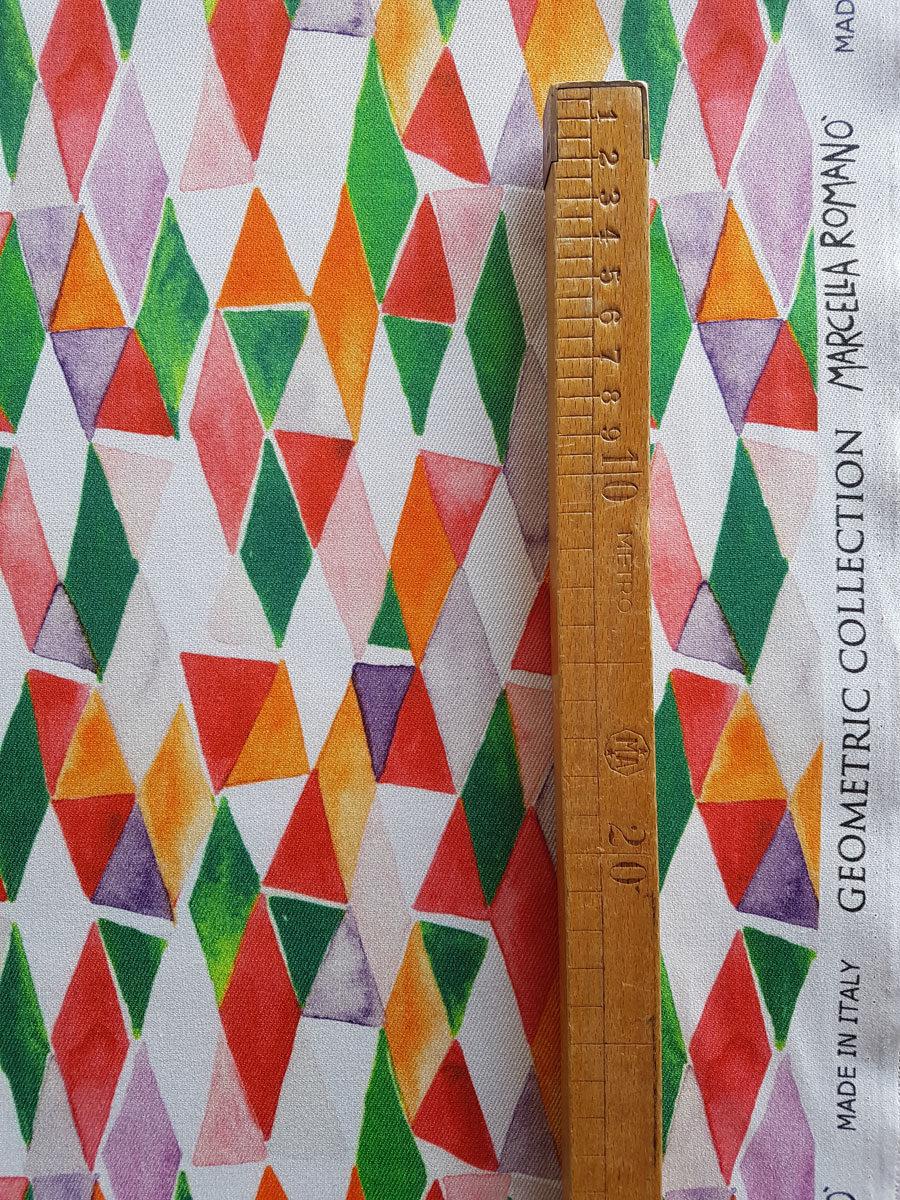 tessuto cotone elasticizzato stampa geometria vendita al metro made in italy